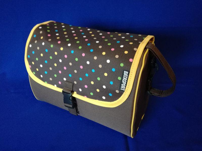 6eface4a8 Predná taška na bicykel INDIGO DOTS na riadidlá CLICK systém kabelka  (hnedo-farebná)